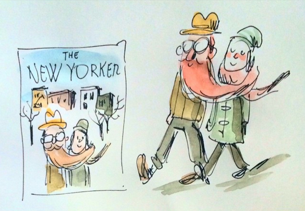 O making-of de Liniers para a capa mais recente da New Yorker