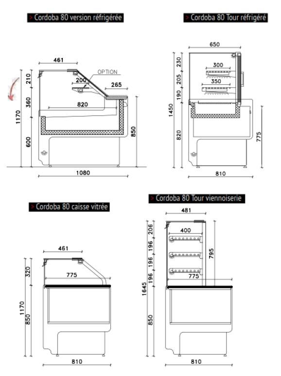 Vitrine Cordoba 80 meuble d'angle caisse pmr