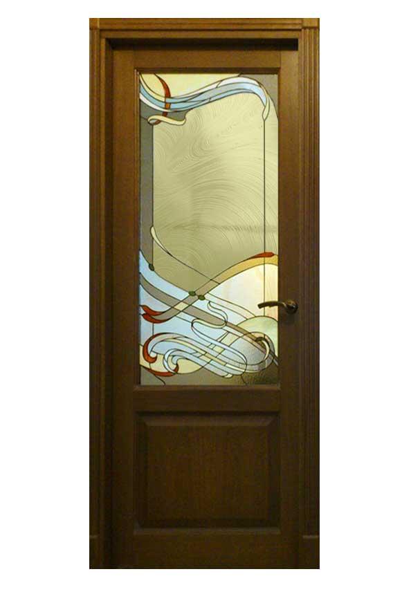 ξυλινη πορτα βιτρο