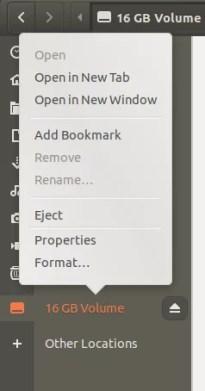 Fare clic con il tasto destro del mouse sull'unità USB in File Manager