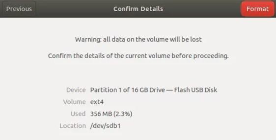 Conferma la formattazione dell'unità USB