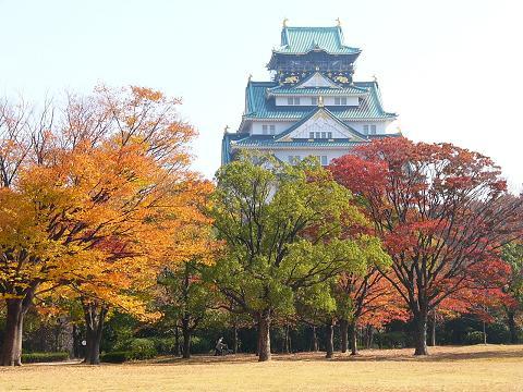 Autumn leaves of Osaka Castle · Nishinomaru garden