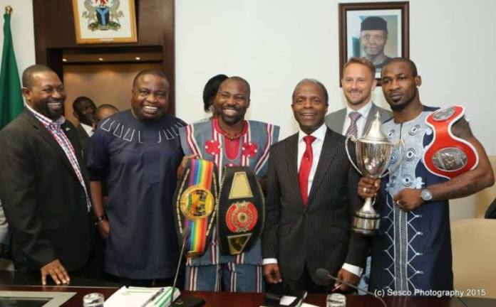 Larry with the Vice President of Nigeria and other dignitaries