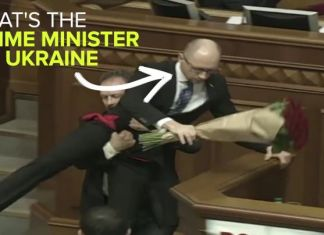 Ukrainian Prime Minister getting bundled out of Parliament Crotch Balls