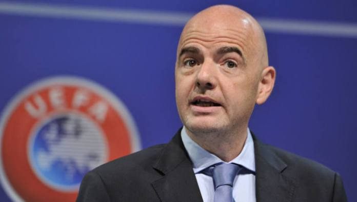 NYON, SWITZERLAND - JULY 03: UEFA General Secretary Gianni Infantino speaks during the UEFA 2014/15 Futsal Cup Preliminary and Main Round Draw at the UEFA headquarters, The House of European Football, on July 3, 2014 in Nyon, Switzerland. (Photo by Harold Cunningham/Getty Images for UEFA)