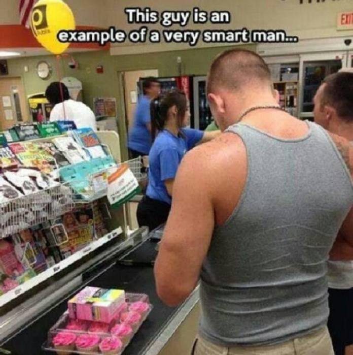 Smart man - tampons and cupcakes