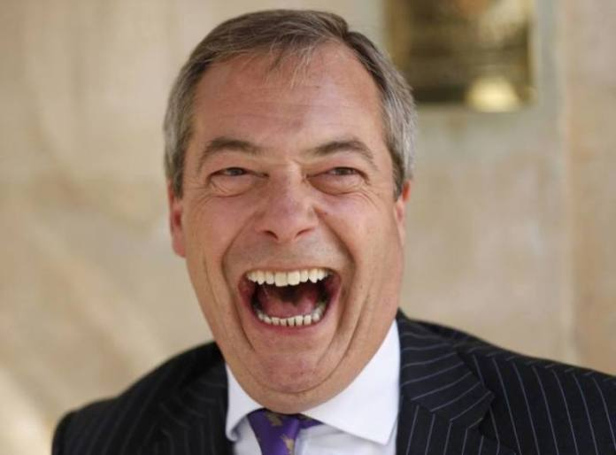 UK Independence Party (UKIP) leader Nigel Farage reacts during a media interview outside the Marquis of Granby, Westminster in central London