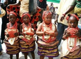 Young Igbo girls in traditional wear