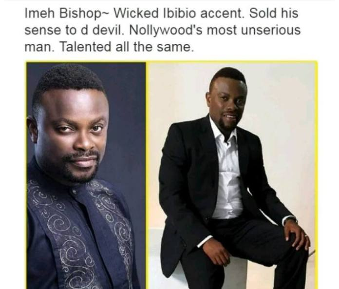 Nollywood Actors and their characteristics - Imeh Bishop