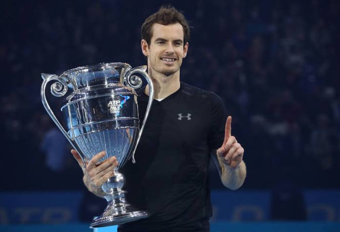 LONDON, ENGLAND - NOVEMBER 20: Andy Murray of Great Britain celebrates with the ATP Tour Trophy following his victory during the Singles Final against Novak Djokovic of Serbia at the O2 Arena on November 20, 2016 in London, England. (Photo by Julian Finney/Getty Images)