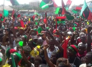 Biafra Agitations - biafrans-ipob-with-flags