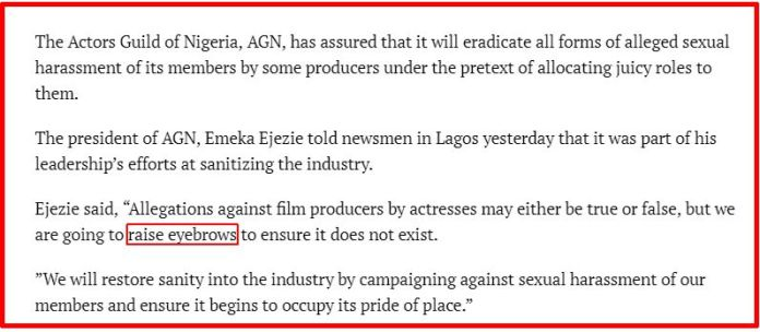 AGN president Emeka Ejezie threatens to raise eyebrows at sexual harassment allegations