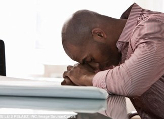 Black man stressed at work