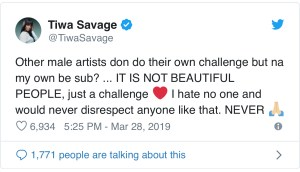 Tiwa Savage denies subbing anyone in #FvckYouChallenge