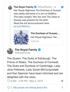 Duke and Duchess of Sussex welcome baby boy