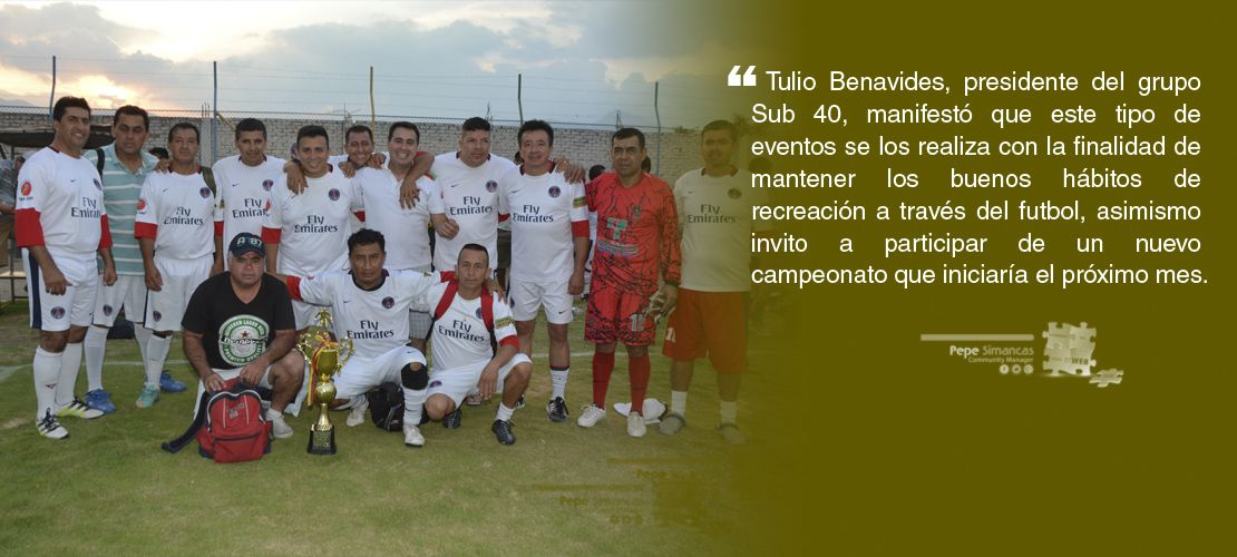 Club Deportivo Marcjohns campeón de la Sub 40 Recreación