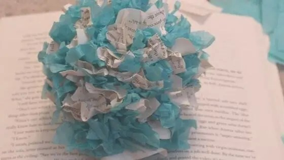 DIY Paper Mums Using Book Pages & Tissue Paper
