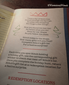 Stitch's Holiday Gift Hunt. Disney Springs. Booklet. Vivacious Views