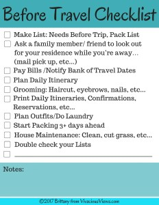 Before Travel Checklist