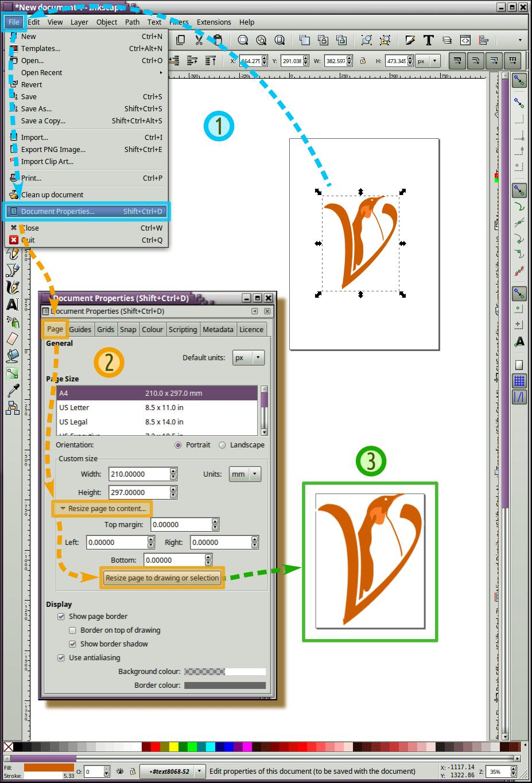 Ajustar el tamaño de lienzo a un objeto en Inkscape