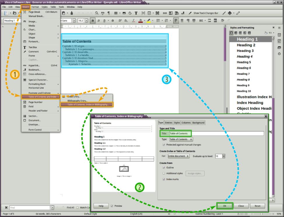Crear un índice de un modo automático en LibreOffice Writer