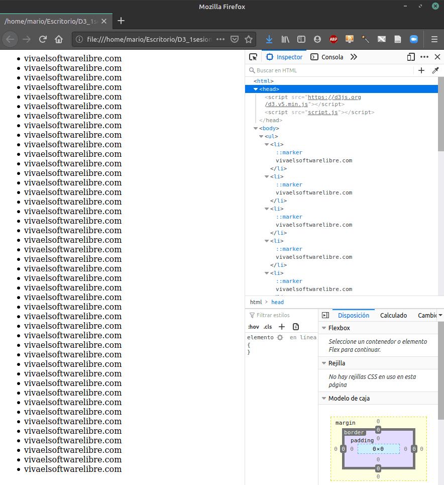 En esta imagen de la introducción a D3 para crear una infografía se muestra cómo añadir texto desde D3 a un archivo HTML.