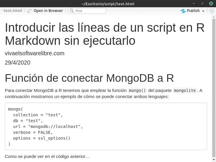 Introducir las líneas de un script en R Markdown sin que llegue a ejecutarse