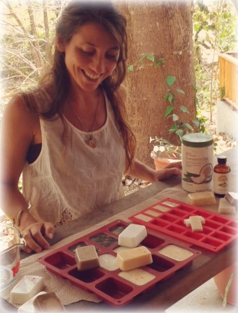 Guada making her soaps