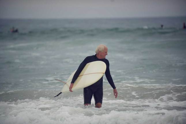Allen with his longboard