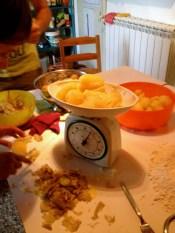 Skin the hot potatoes and measure.