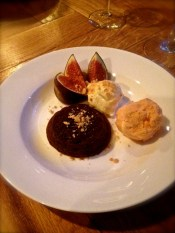 Chocolate fondant with figs and ice-cream.