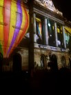 Projection shows on the town hall.
