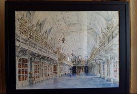 Watercolour painting of Mafra Palace Library | Pintura em aquarela da Biblioteca do Palácio de Mafra