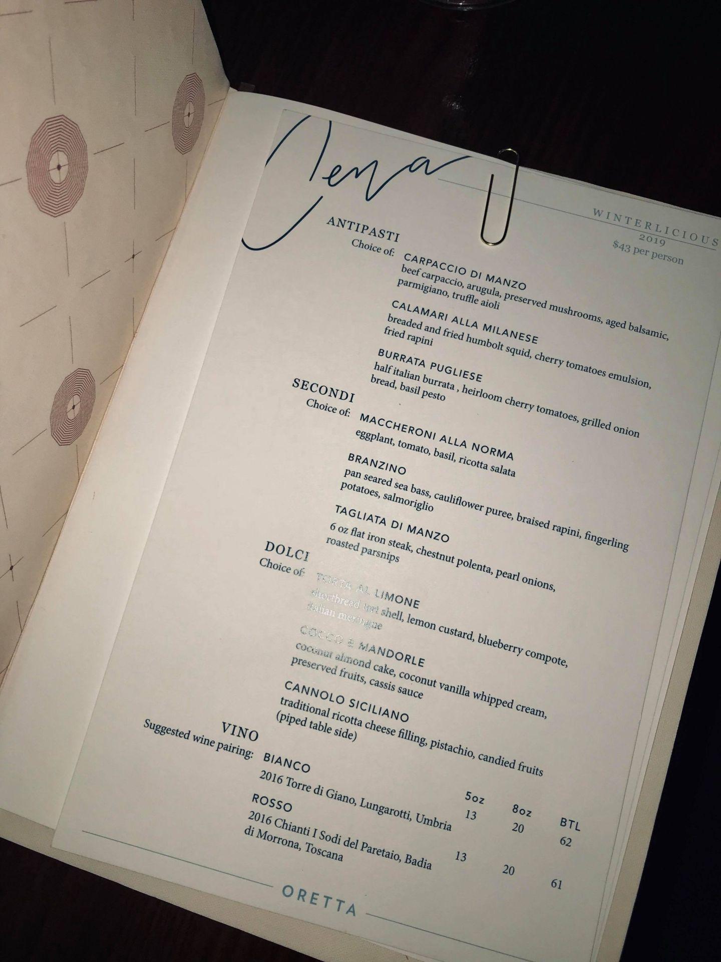 winterlicious menu 2019
