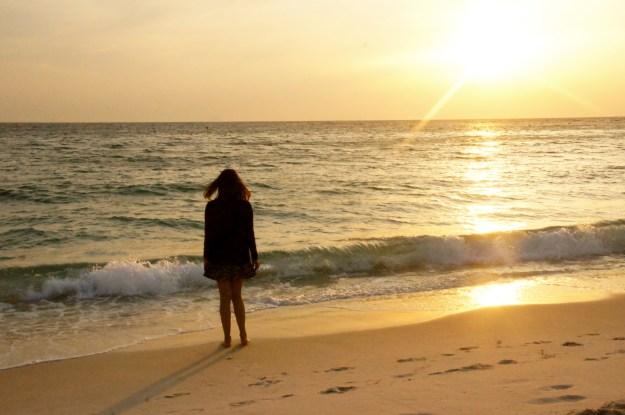 sunset at Shirahama beach