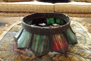 Old stained glass light fixture