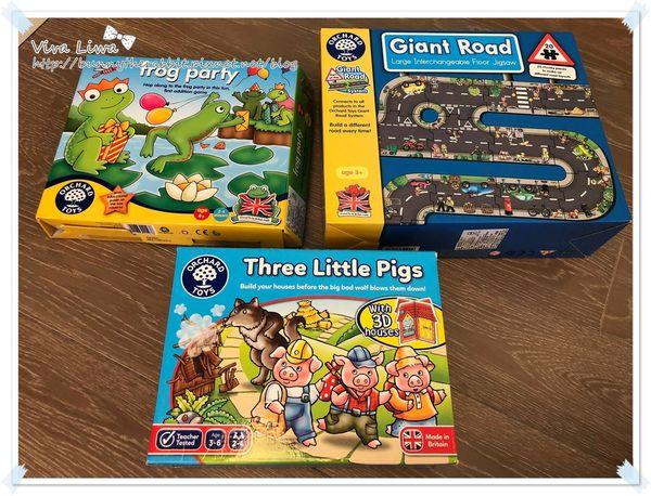 【玩具】翰3Y。推薦Orchard Toys三款桌遊:三隻小豬、青蛙派對、遊戲拼圖(街道)