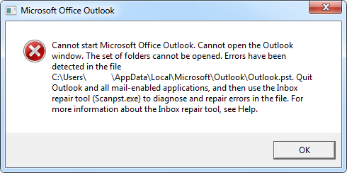 Imagen 1. - Ejemplo de error de archivo PST incorrecto de Microsoft Outlook