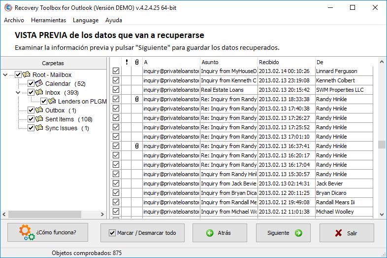 Imagen 3.2. - Recovery Toolbox for Outlook. Selección de los datos que quiera guardar.