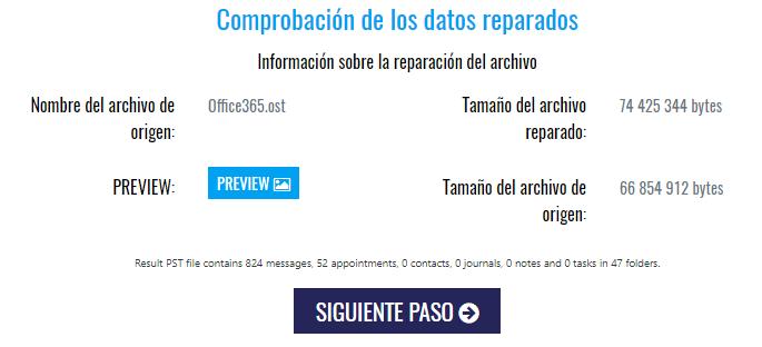 Imagen 4.3. - Servicio de reparación de Outlook. Información sobre los datos recuperados del archivo PST.