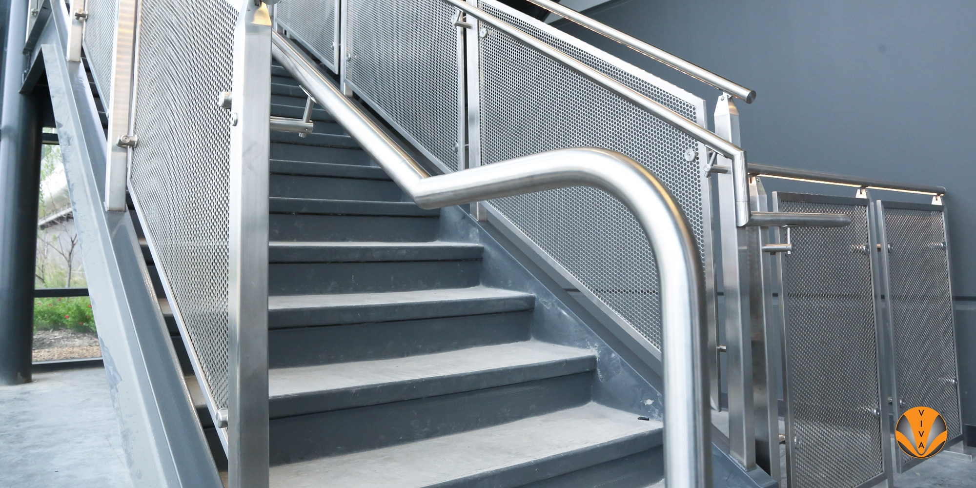 Lighted Stair Railing Cube™ With Irail™ Traxxas Headquarters   Lighted Handrails For Stairs   Wood Hand Rail Design   Antique   Brushed Nickel   Modern   Acrylic