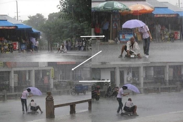 The woman who kept a homeless man dry during a downpour