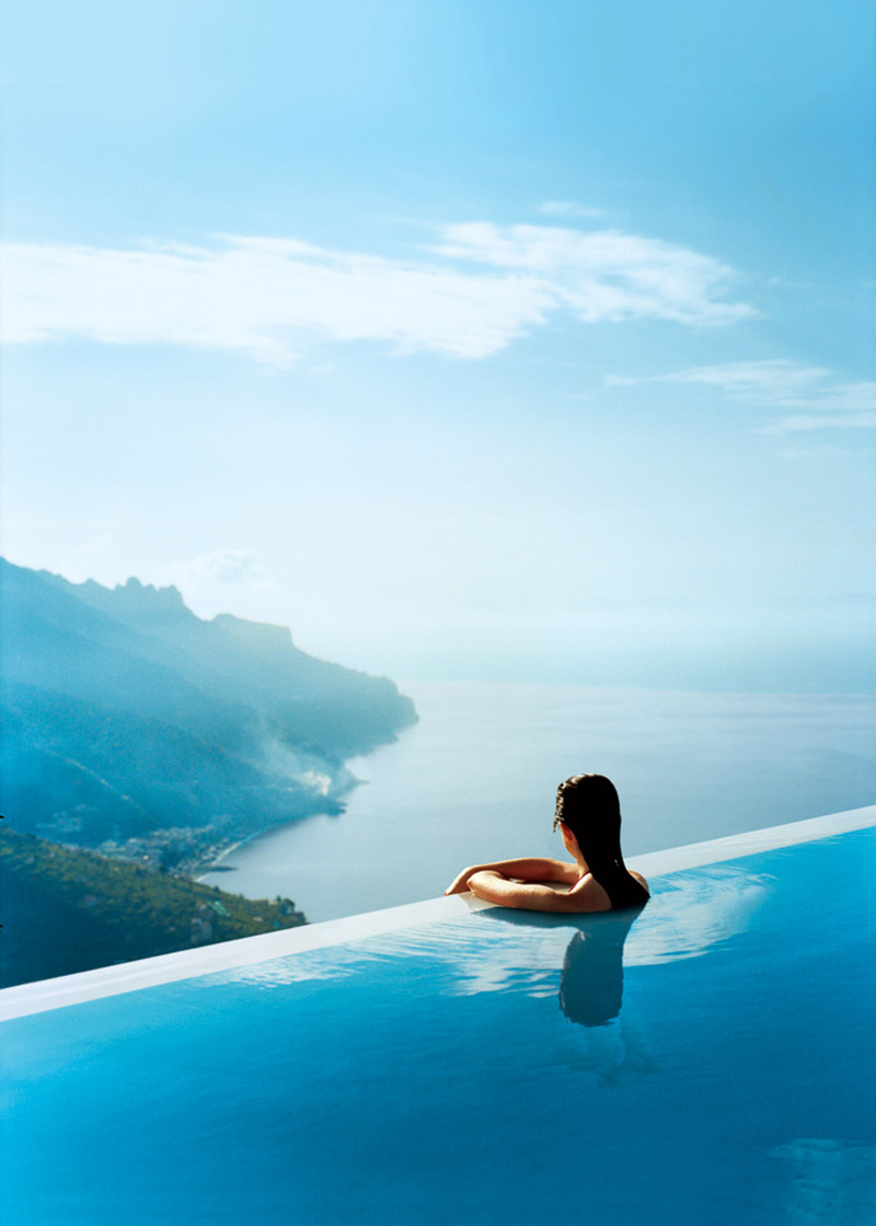 In an infinity pool.