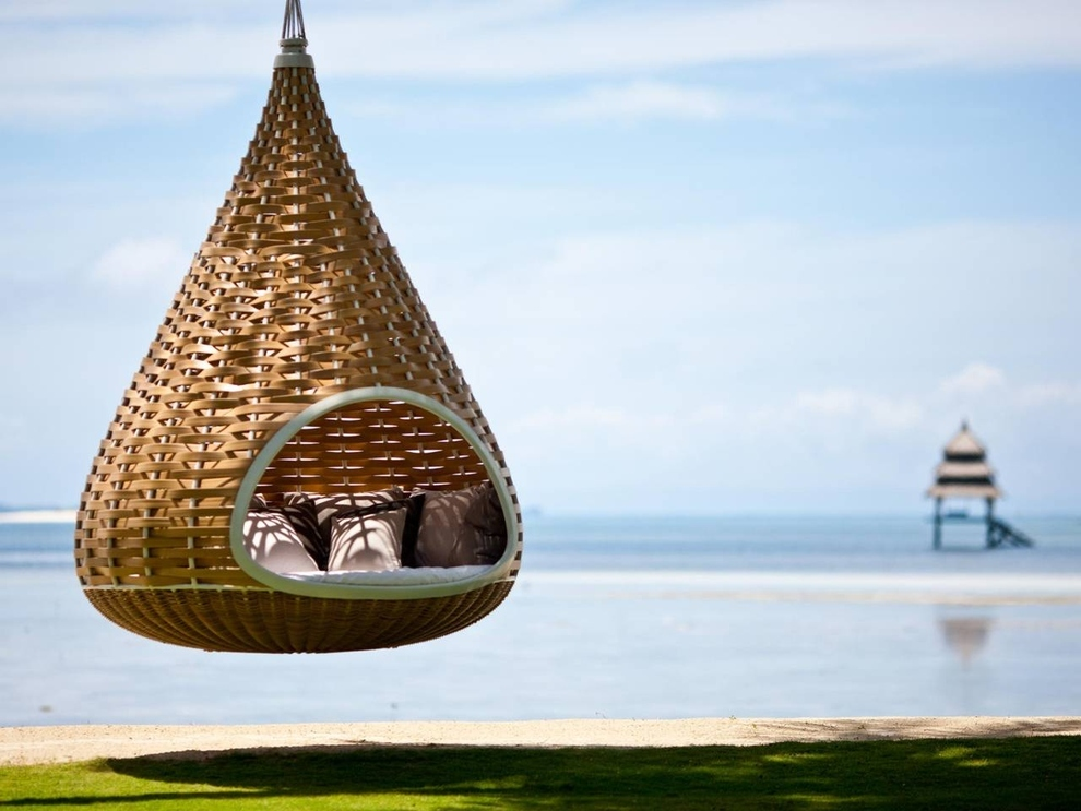 In this hanging cocoon hammock in the Philippines.