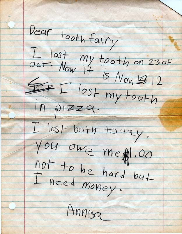 The threatening letter to the Tooth Fairy.