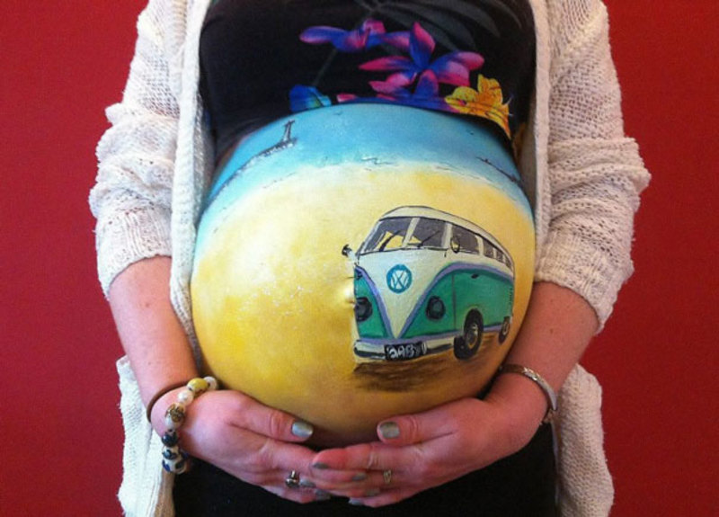 pregnant bump painting carrie preston 14