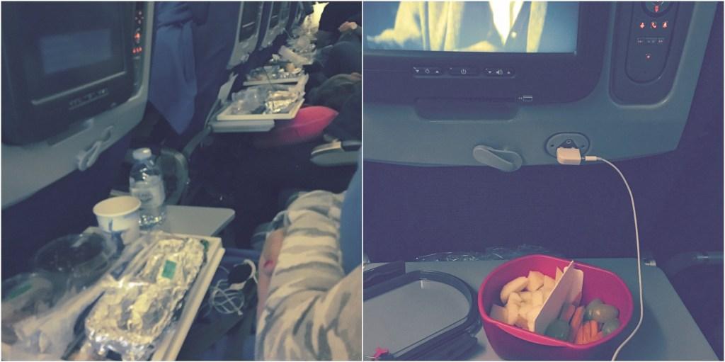 A esquerda uma amostra do lixo gerado nas refeições de voo, a direita eu beliscando parte do meu lanche enquanto assistia algum filme qualquer.
