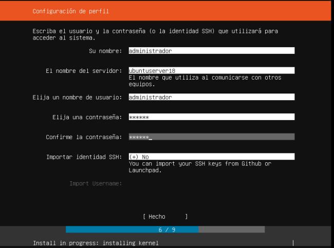 INSTALAR UBUNTU SERVER 18.04 LTS configuracion de perfil