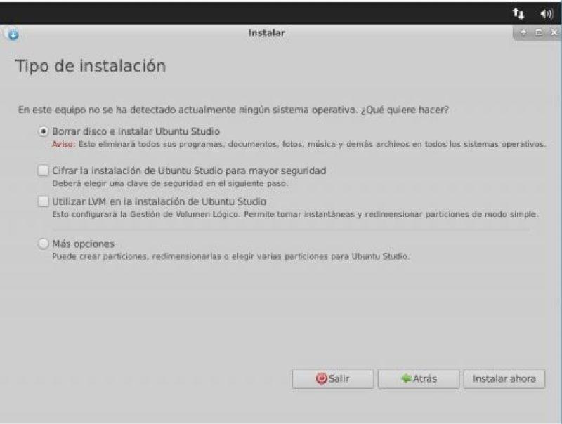 instalación Ubuntu Studio 18.04 tipo de instalación