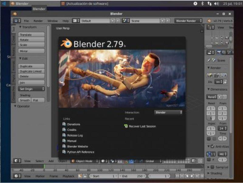 ubuntu studio escritorio blender